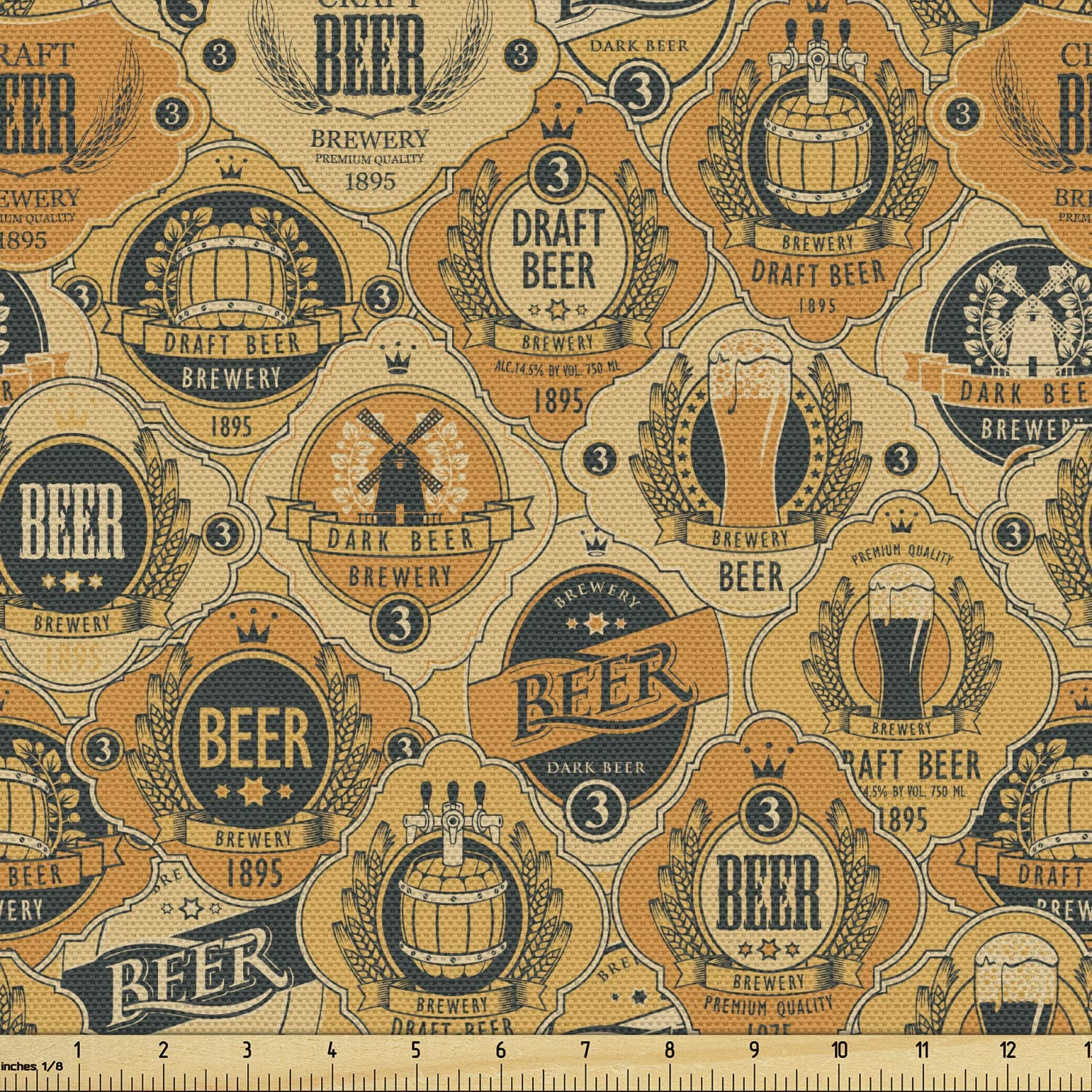 Lunarable Drinks Fabric by The Yard, Beer Barrels and Labels in Retro Tones Brewery Cask Beverage Graphic, Decorative Fabric for Upholstery and Home Accents, 2 Yards, Orange Blue