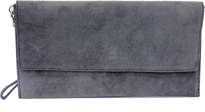 Bolso Rígido de Mano tipo Clutche o Sobre, Gamuzado Color Granate. 16,5 X 31 Centímetros.