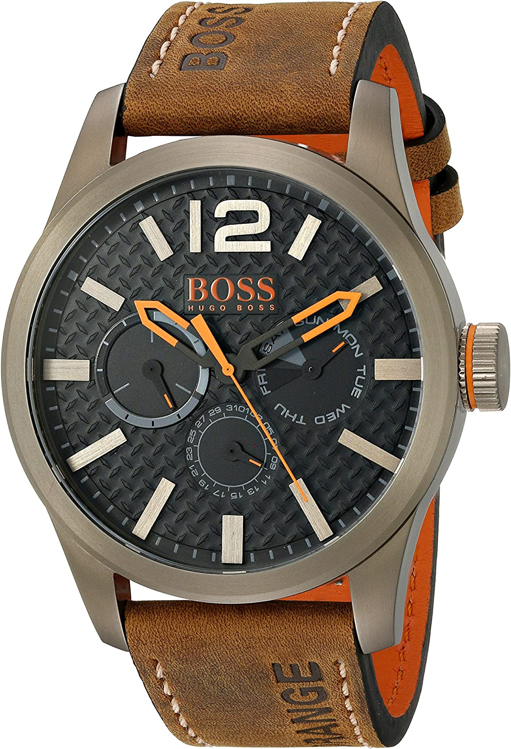 Hugo Boss Orange Black Dial Leather Strap Men s Watch 1513240
