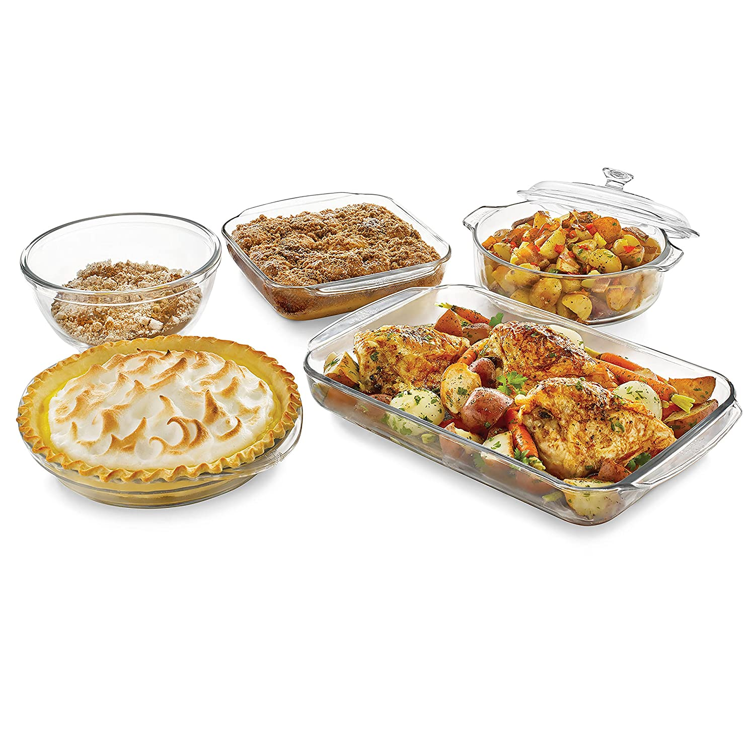 Libbey Backer's Basics 5-Piece Glass Casserole Baking Dish Set with Glass Covers