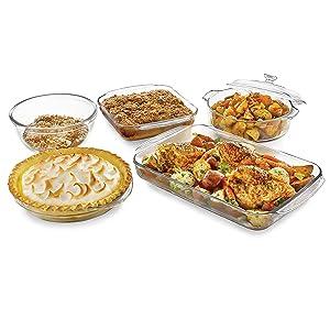 Libbey Backer's Basics 5-Piece Glass Casserole Baking Dish Set with Glass Covers