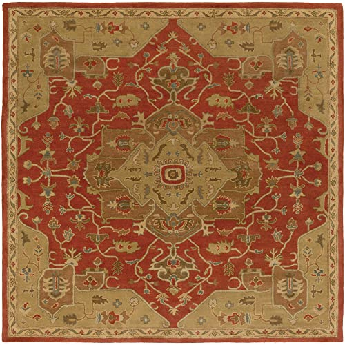 Surya Hand Tufted 100-Percent Wool Classic Square Accent Rug, 4-Feet