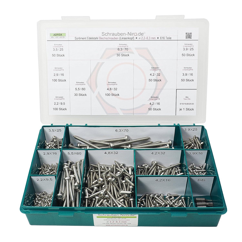 25 Stück Blechschrauben DIN 7981 Linsenkopf A2 3,9X32