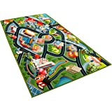 Kids Carpet Playmat Rug - Fun Carpet City Map for Hot Wheels Track Racing and Toys - Floor Mats for Cars for Toddler Boys -Be