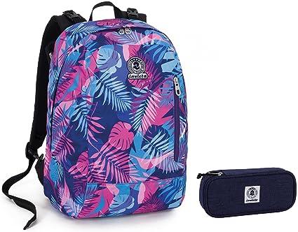 Invicta, Twist - Mochila y estuche reversibles, 2 mochilas en una, azul,