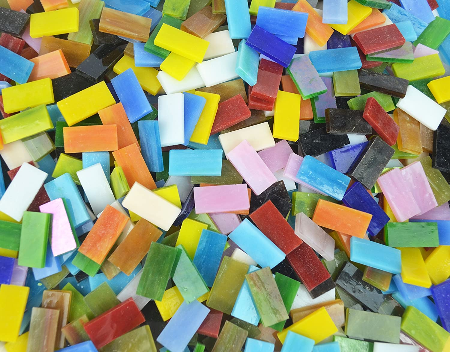 Lanyani 400 Pieces/17.6oz Rectangle Mosaic Tiles Stained Glass For Crafts and Home Decorations Assorted Colors Textures