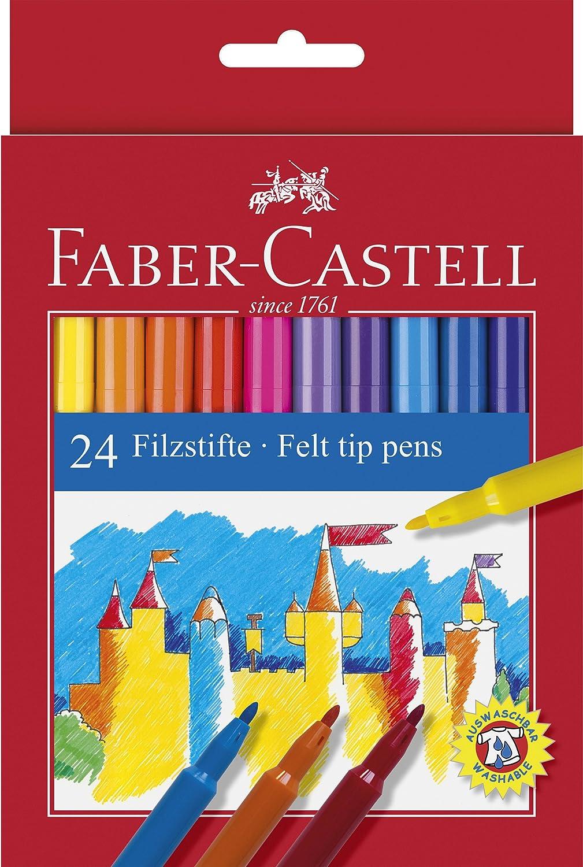 Faber Castell 554224 - Estuche de cartón con 24 rotuladores escolares, punta de fibra, multicolor