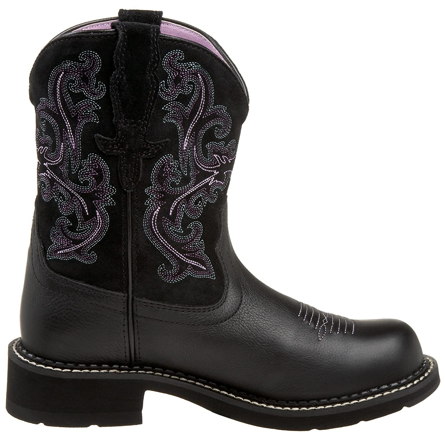 Ariat Women Women's Fatbaby Collection Western Cowboy Boot B0028AE696 7.5 B(M) US|Black Deertan/Orchid