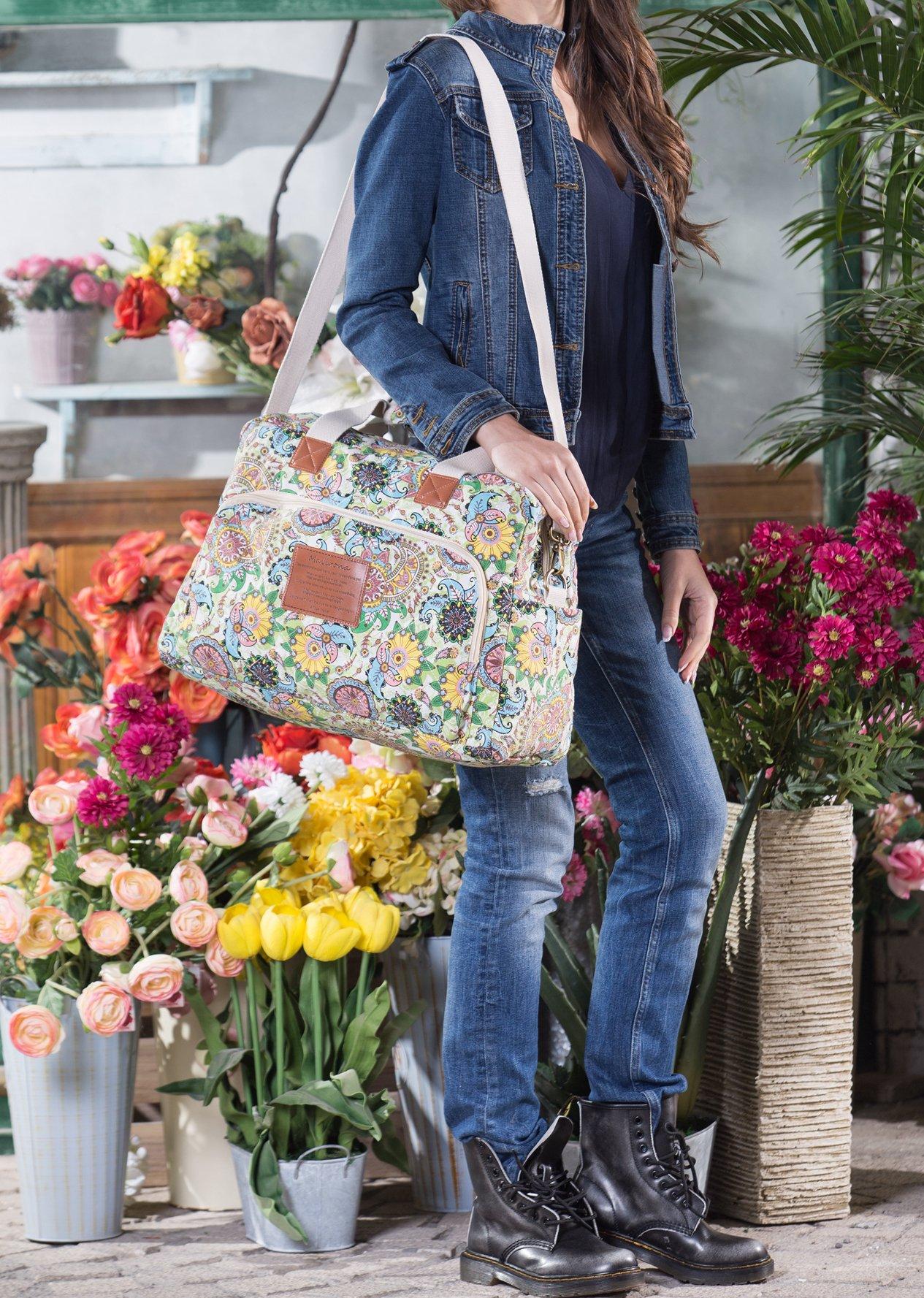 Malirona Canvas Overnight Bag Women Weekender Bag Carry On Travel Duffel Bag Floral Design (Flower) by Malirona (Image #3)