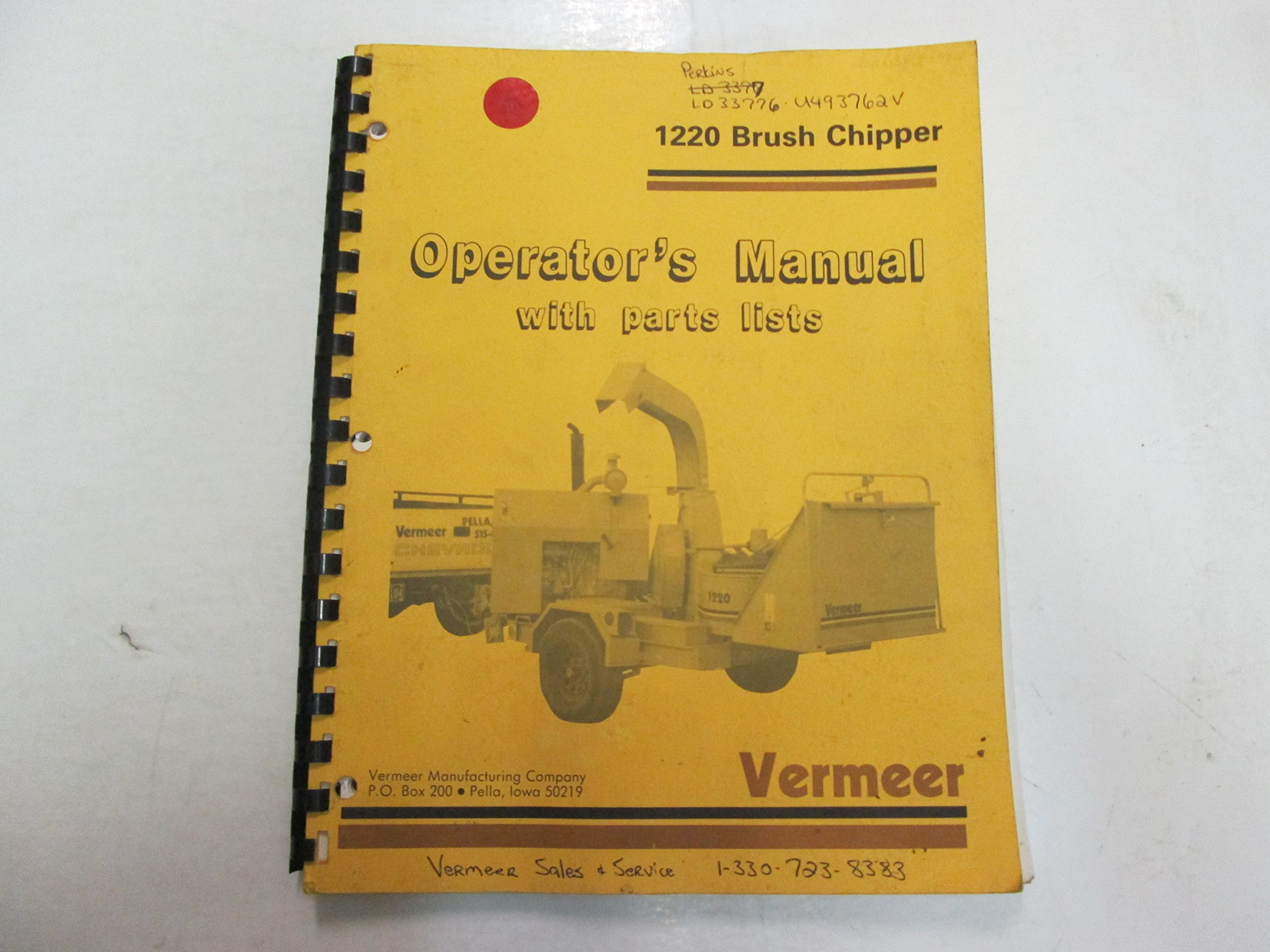 Vermeer 1220 Brush Chipper Operators Manual w/ Parts list STAINED WRITING  OEM: Vermeer Manufacturing Company: Amazon.com: Books