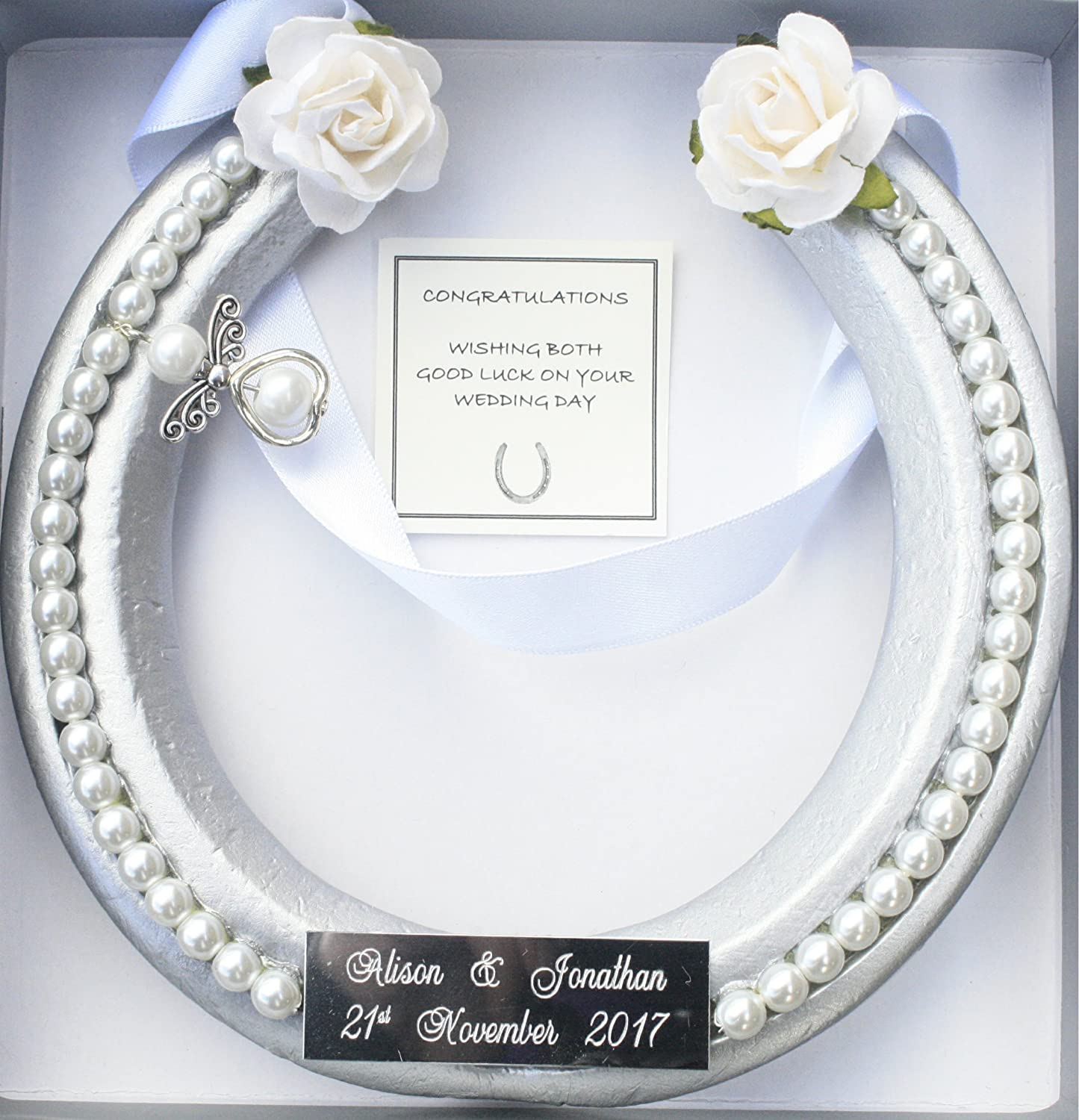 Bridal wedding lucky real horseshoe in WHITE