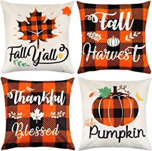 Mocoosy Fall Pillow Covers 18 x 18 Inch, Thanksgiving Pillow Cases Decorative Buffalo Plaid Throw Pillow Covers Pumpkin Maple Leaf Square Linen Pillowcase for Autumn Thanksgiving Home Decor Set of 4