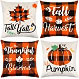 Mocoosy Fall Pillow Covers 18 x 18 Inch, Thanksgiving Pillow Cases Decorative Buffalo Plaid Throw Pillow Covers Pumpkin…