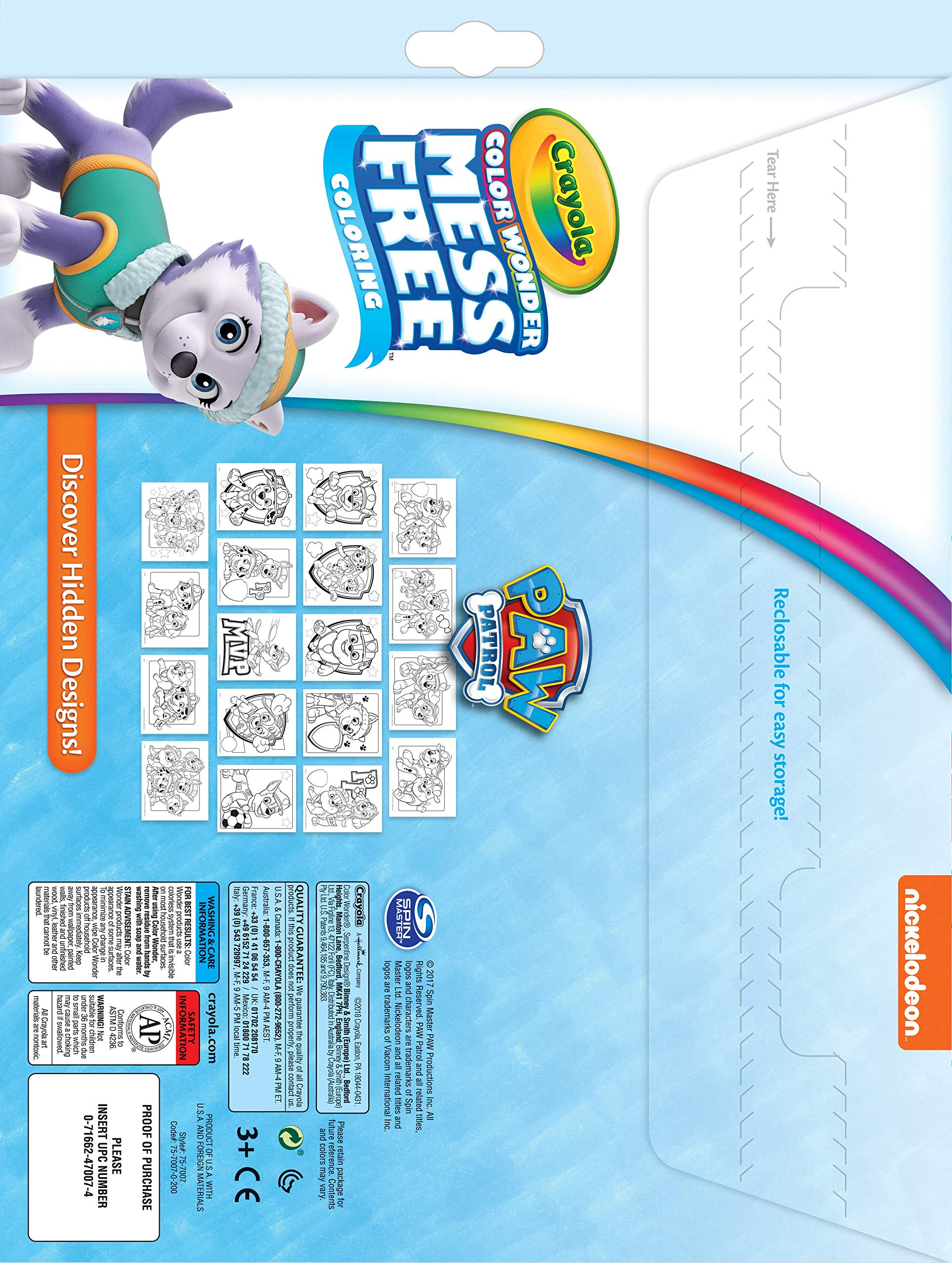 Gift for Kids Mess Free Coloring Age 3 6 75-7007 4 5 Crayola Color Wonder Paw Patrol Coloring Book Pages /& Markers