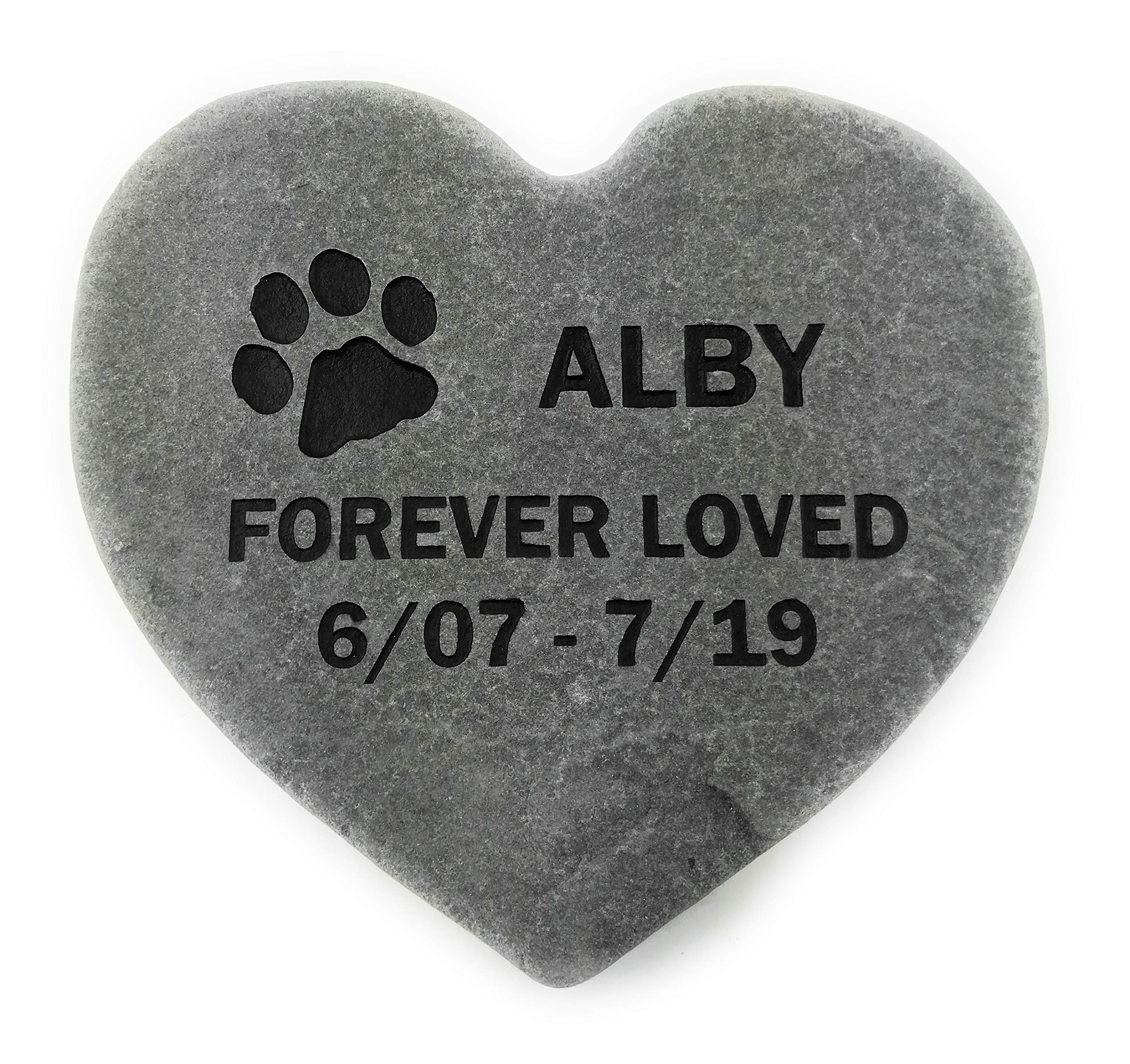 GraphicRocks Pet Memorial Headstone Grave Marker Gray Natural Stone Heart 8'' for Your Dog Or Cat Personalized by GraphicRocks