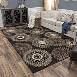 "Rizzy Home Xcite Collection Polypropylene Area Rug, 5'2"" x 7'3"", Brown/Black/Beige/Gray Spiral"