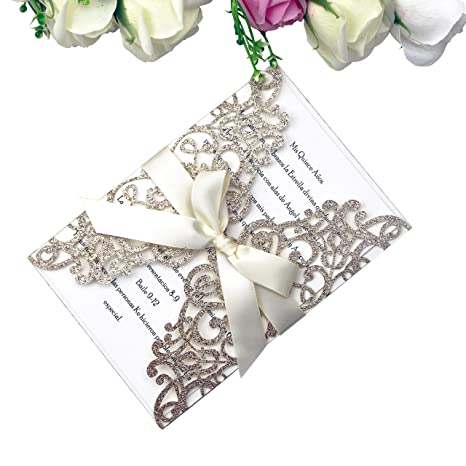 a92b724604e PONATIA 25PCS 5.12 x 7.1    Laser Cut Bling Wedding Invitations Cards with  Ivory Ribbons