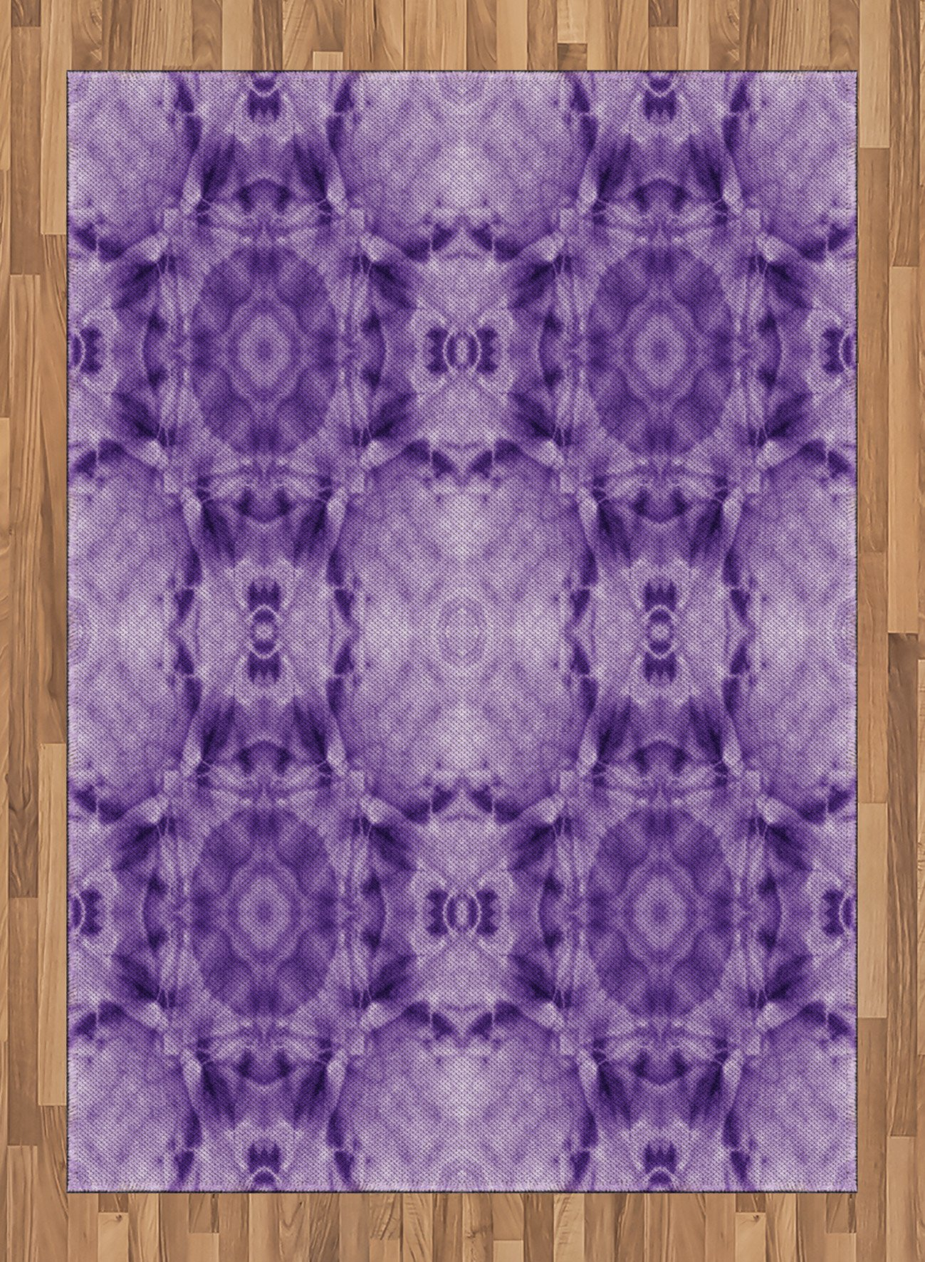 Tie Dye Decor Area Rug by Ambesonne, Thai Style Motif Generated with Square Shaped Kaleidoscope Murky Toned Forms, Flat Woven Accent Rug for Living Room Bedroom Dining Room, 5.2 x 7.5 FT, Purple by Ambesonne