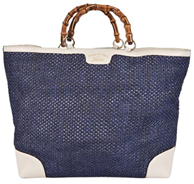 874e4fddf9c Amazon.com  Gucci Women s Large Blue Straw Leather Bamboo Handle ...