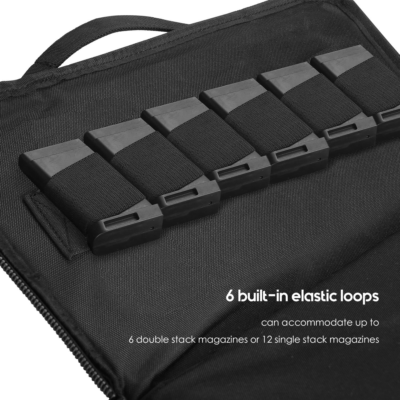ProCase Tactical Pistol Case, Soft Shooting Gun Range Bag Handgun Magazine Pouch Duffle Bag for Hunting or Shooting Range Sport- Black by ProCase (Image #4)
