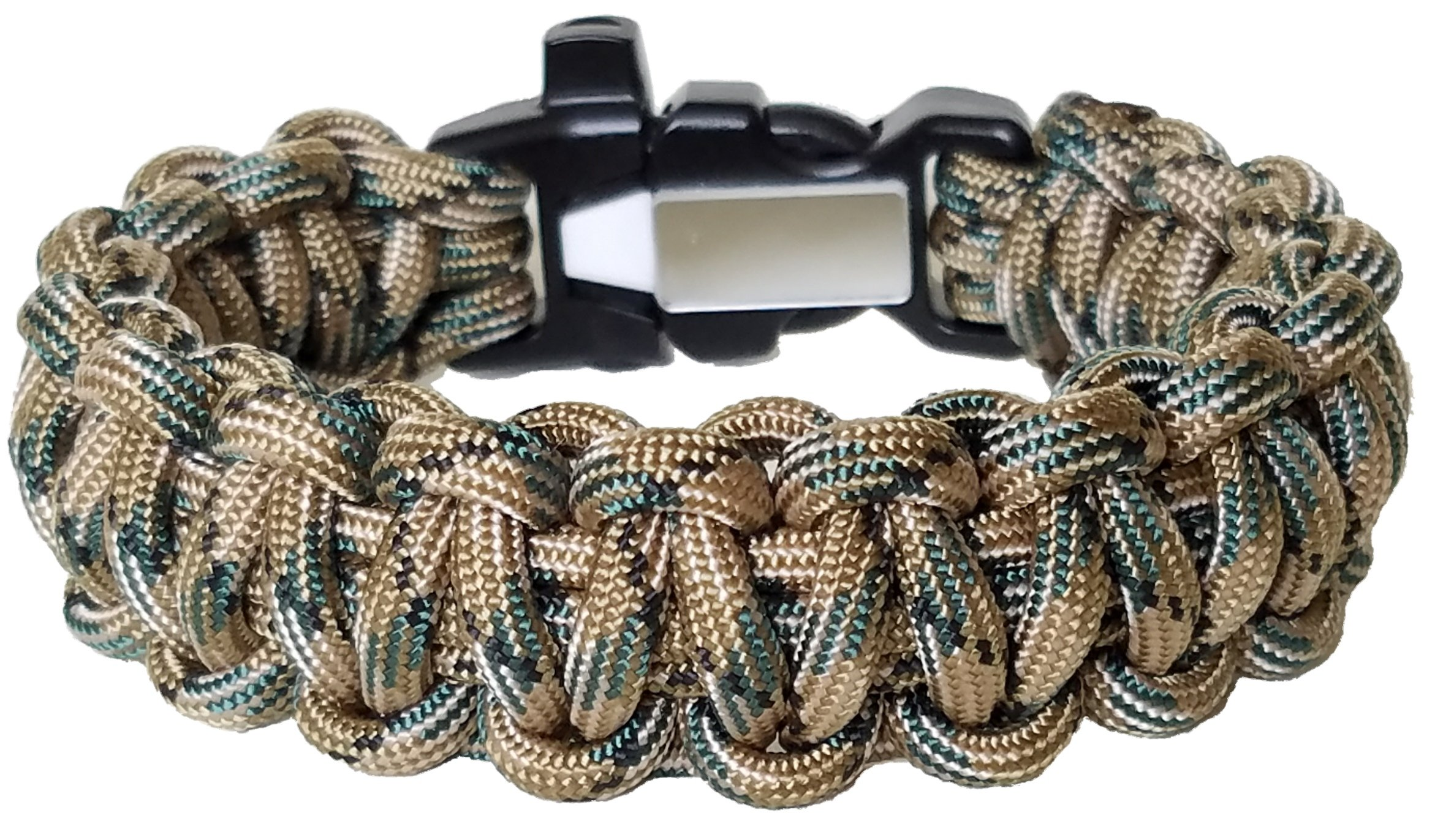 ParaOne- Paracord Bracelet | Premium Survival Bracelet With Firestarter Buckle, Whistle, Mirror, Snare Wire, Fire Tinder, Fishing Line | Made In The USA (Woodland, Large)