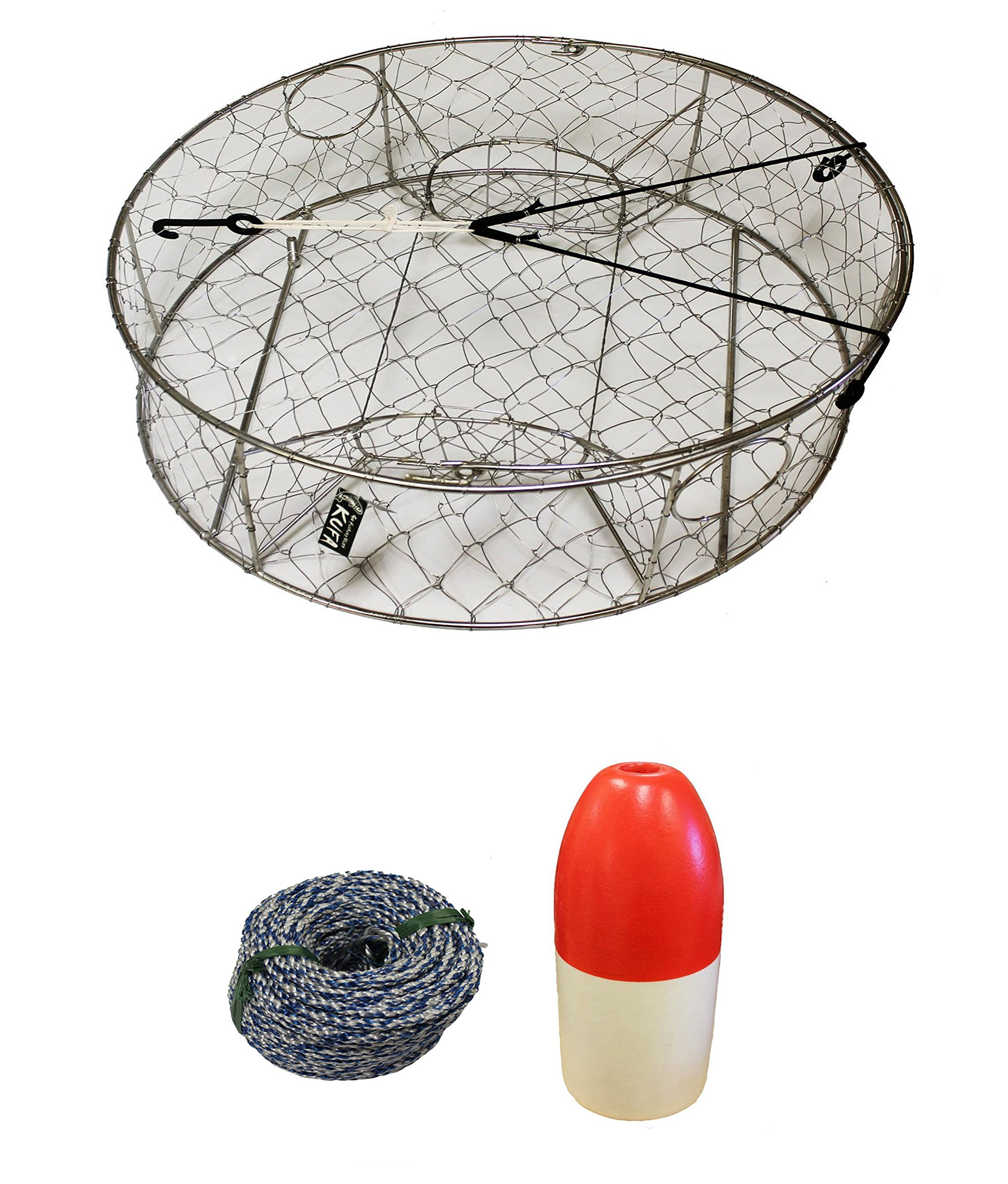 KUFA Stainless Steel Crab Trap with Zinc Anode, 1/4'' x 100' Non-Lead Sinking Line and 5''x11'' Red/White Float Combo (CT100+FWS100+ZIN1)