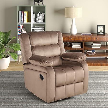 FLIEKS Reclining Chair, Velvet Upholstery Rocker and Swivel Recliner Chair for Living Room Ergonomic Lounge Comfy Glider Recliner Chair 360 Degree Swivel Brown