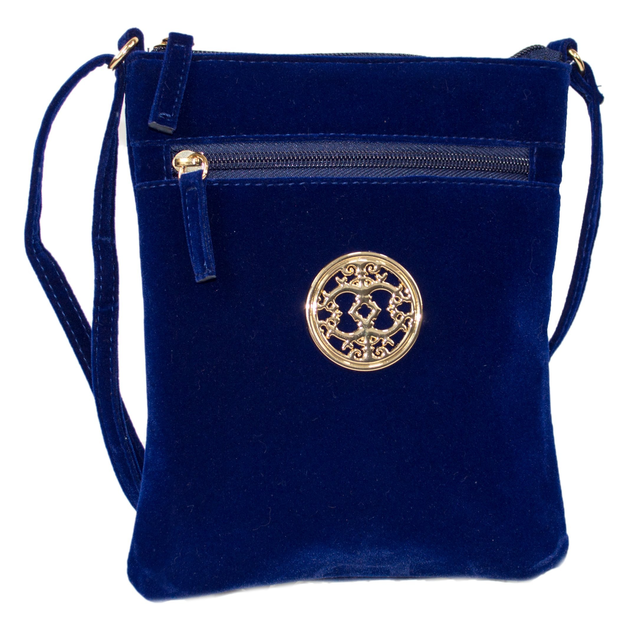 Rising Phoenix Industries Navy Blue Vintage Style Velvet Crossbody Party Bag, Small Purse with Shoulder Strap