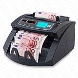 Stückzahlzähler Geldzählmaschine Geldzähler Geldscheinzähler Scheine SR-3750 LCD UV/MG/IR von Securina24® (Schwarz - LED)