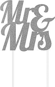 Creative Converting Mr & Mrs Cake Topper, Silver Glittered
