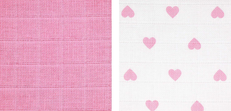 120x120 cm ZOLLNER 2er Set Puckt/ücher 100/% Baumwolle wei/ß rosa mit Herzen ca