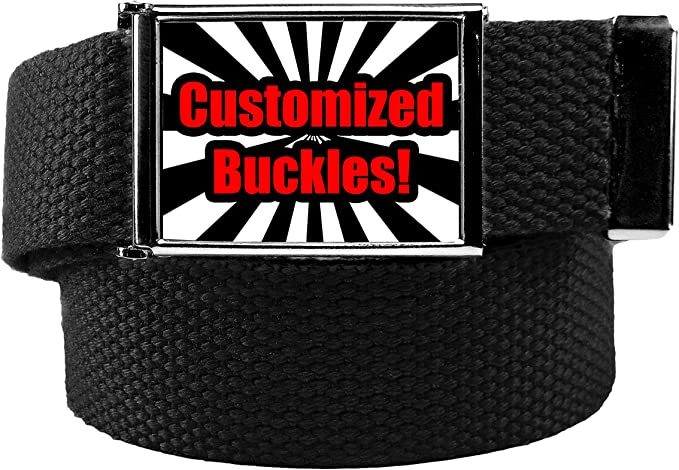"""NEW FLIP TOP BLACK BELT BUCKLE with TIP ONLY for 1.25/"""" Canvas Belts Replacement"""