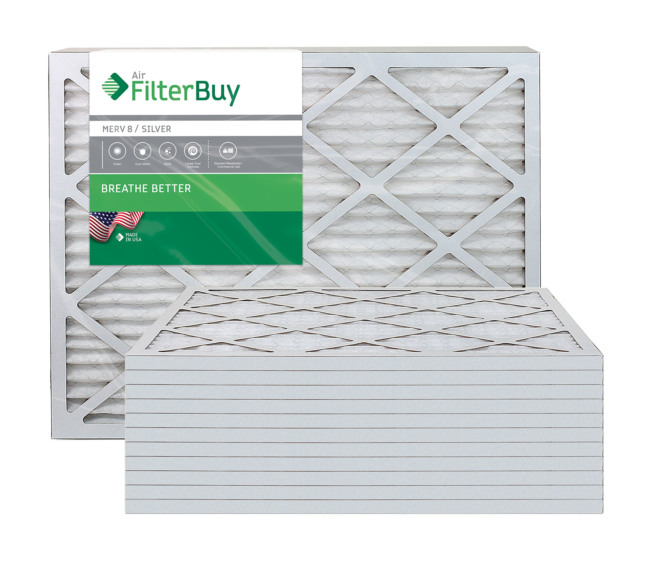 AFB Silver MERV 8 22x24x1 Pleated AC Furnace Air Filter. Pack of 12 Filters. 100% produced in the USA.