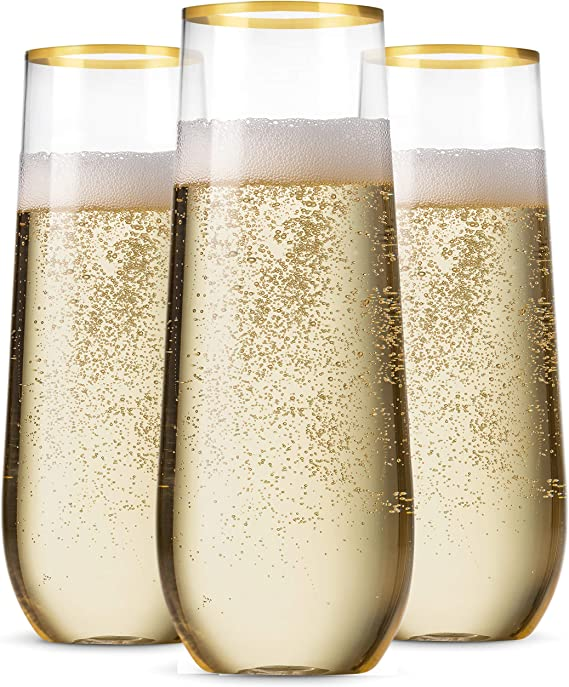 48 Pack Stemless Plastic Champagne Flutes Disposable 9 Oz Gold Rim Clear Plastic Toasting Glasses Shatterproof Recyclable and BPA-Free