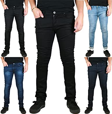 MENS SKINNY STRETCH JEANS SLIM FIT DENIM JEANS Trousers: Amazon.co ...