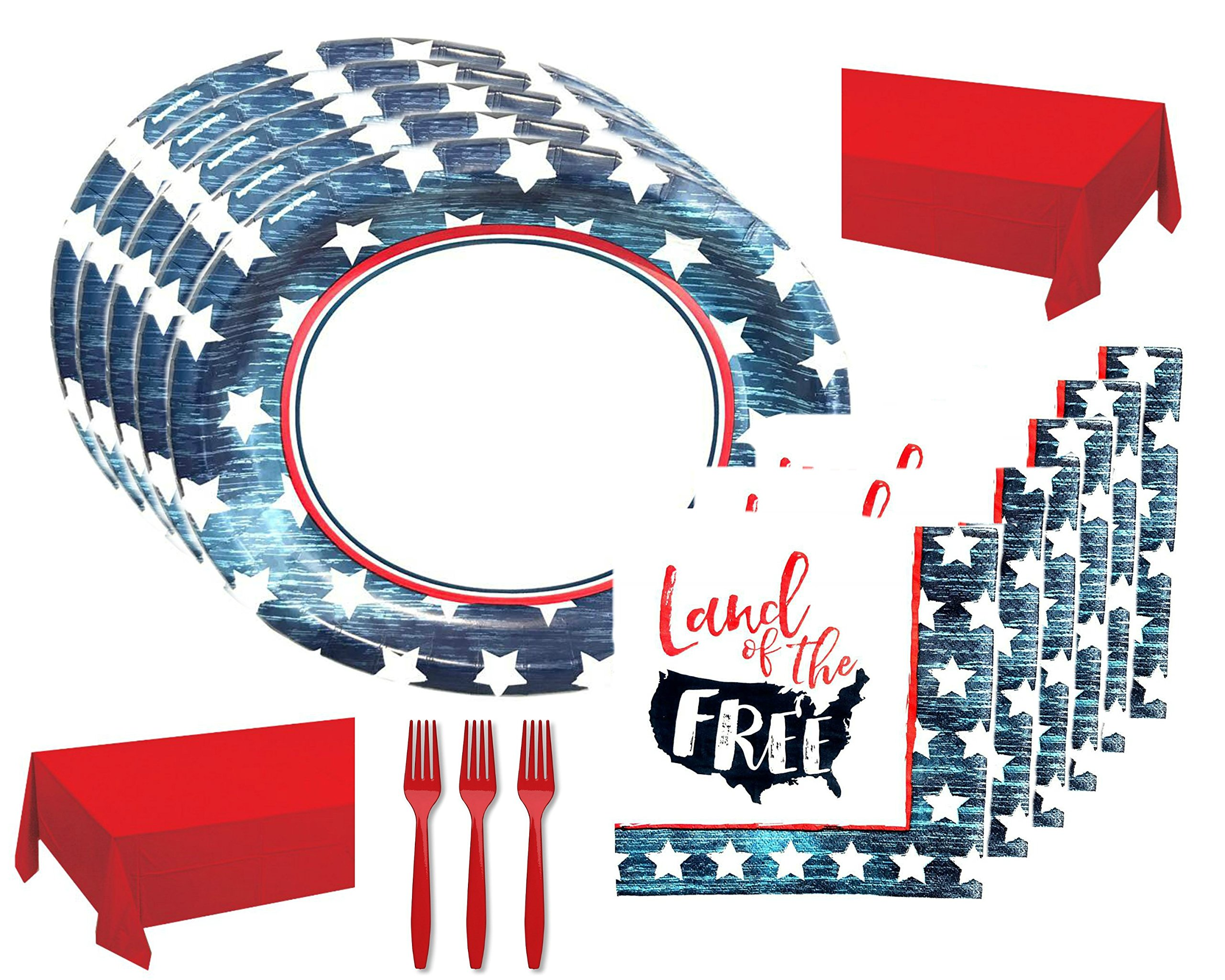 Rustic Patriotic July 4th Party Supply Mega Bundle for 48 Guests, Land of the Free - Includes Platters, Napkins, Tablecovers and Forks