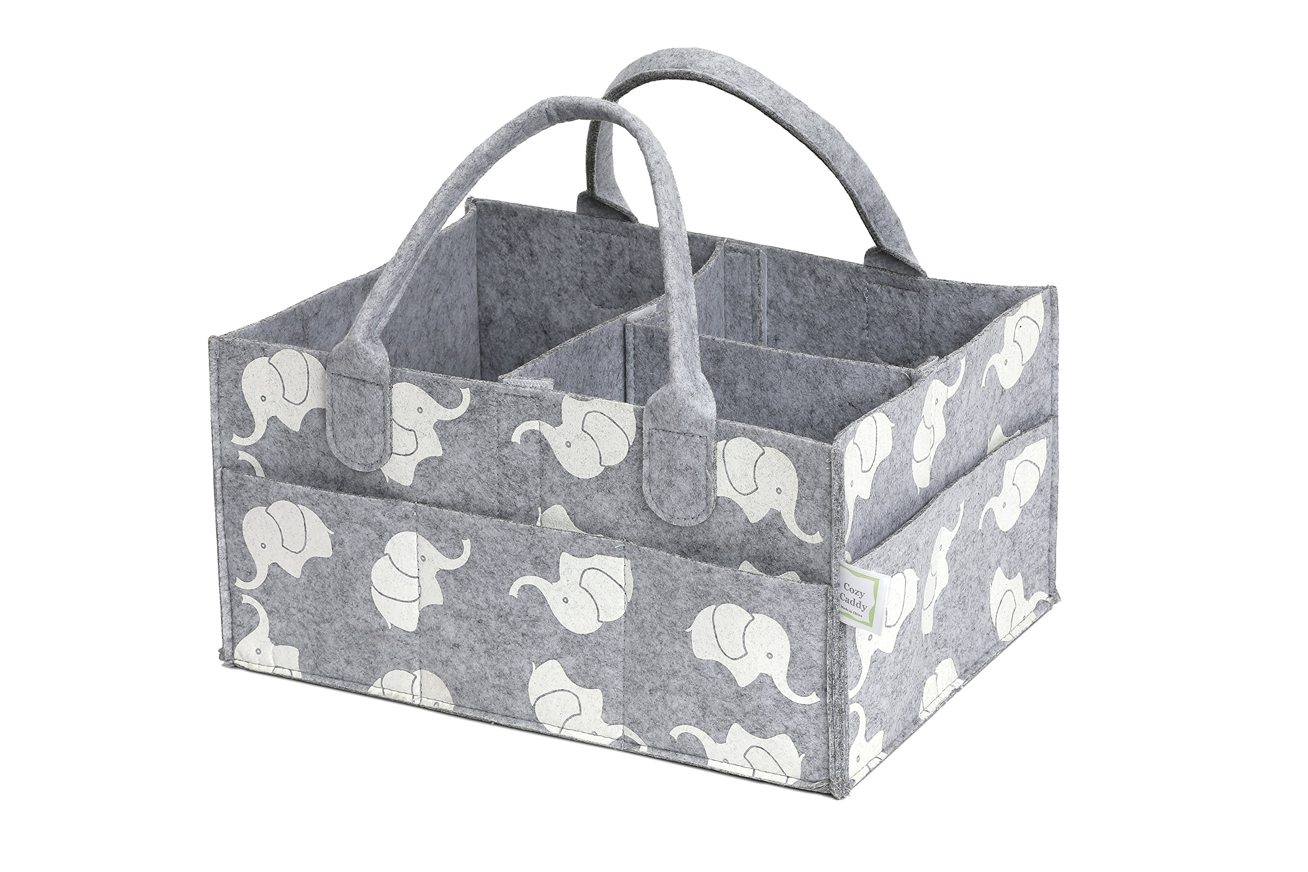 CozyCaddy Grey Diaper Caddy | Store Clothes, Teething Toys and Baby Stuff | Baby Shower Gift | 14'' X 10'' X 7'' Larger Sturdy Bottom | Durable Felt (Grey)