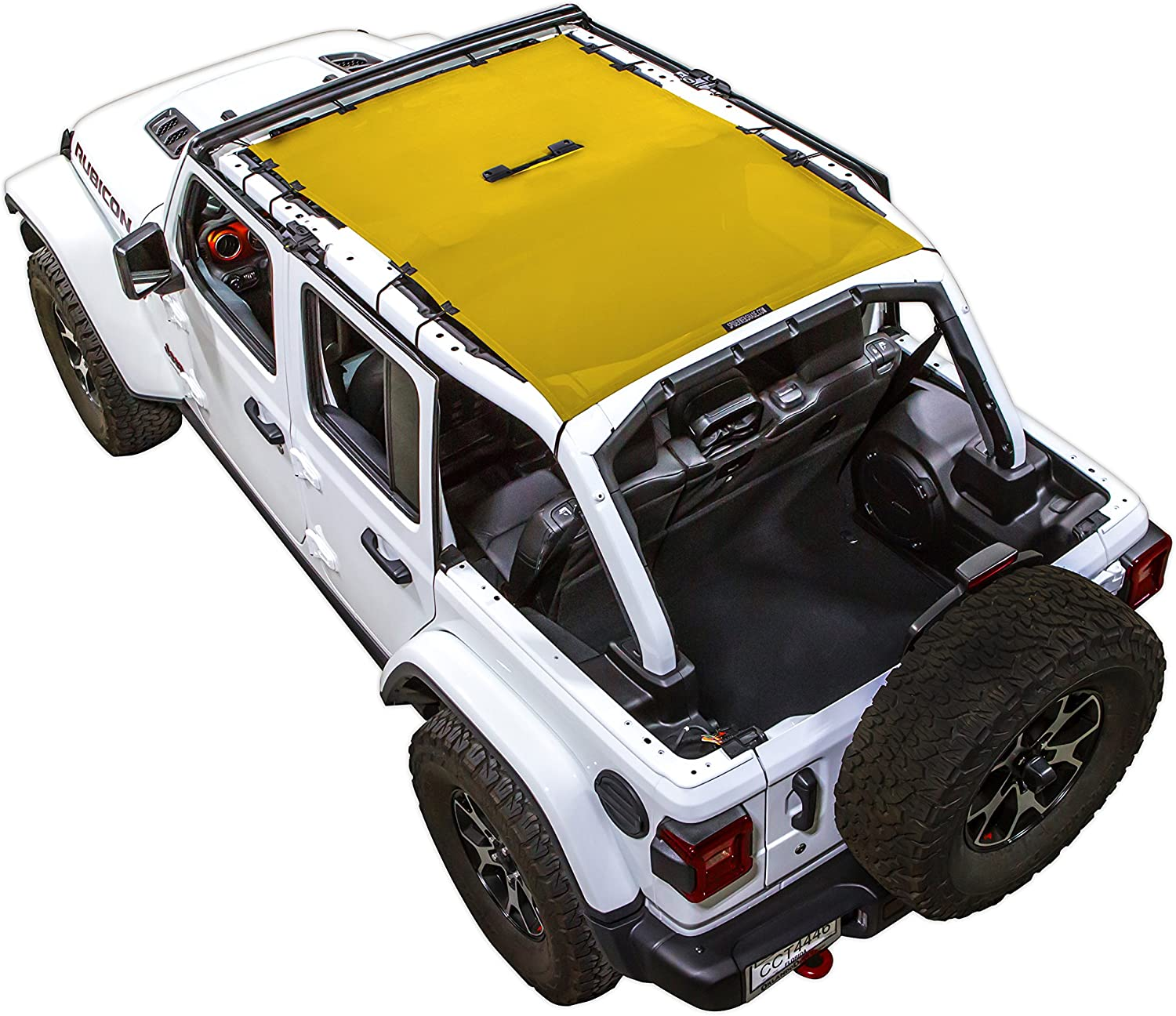 2018 - current SPIDERWEBSHADE Jeep Wrangler JL Mesh Shade Top Sunshade UV Protection Accessory USA Made with 5 Year Warranty for Your JL 4-Door in Yellow