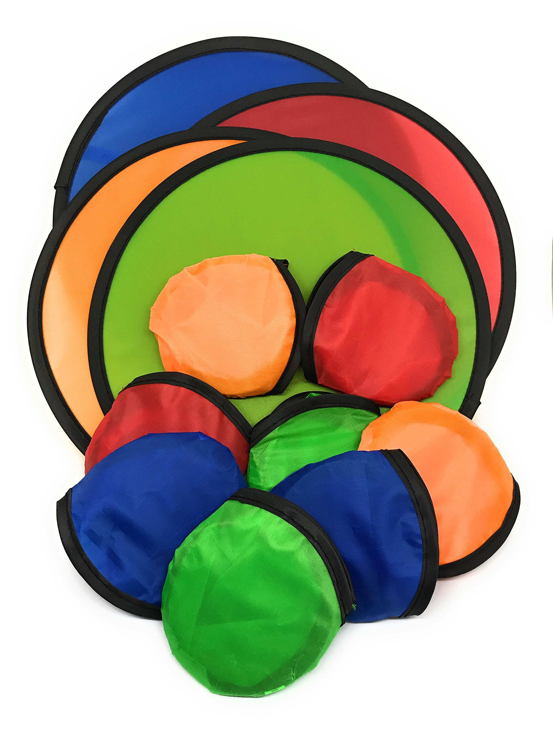 SVT 12 x Foldable Flying Disc/Fan with Bag Assortment - 9.5'' Folding Frisbees in Four Exciting Colors by SVT