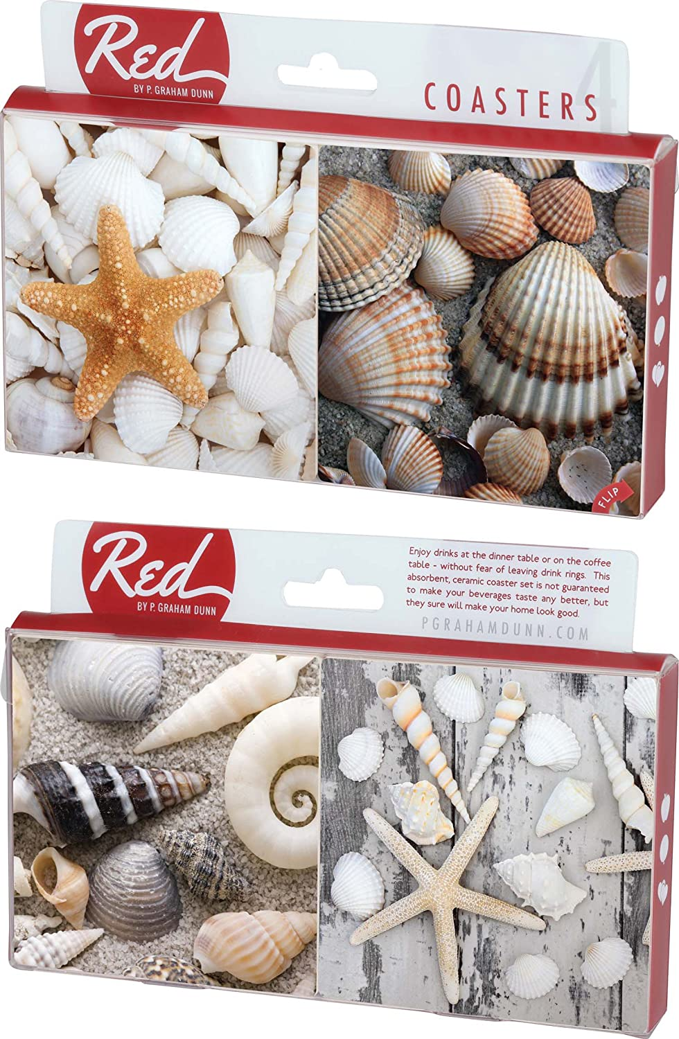 Sea Shells in the Sand 4 Piece Absorbent Ceramic Coaster Set