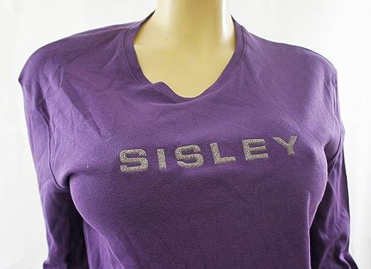 BENETTON Purple quot SISLEY quot  Front Long Sleeve T Shirt Top - UK ... 11896d979