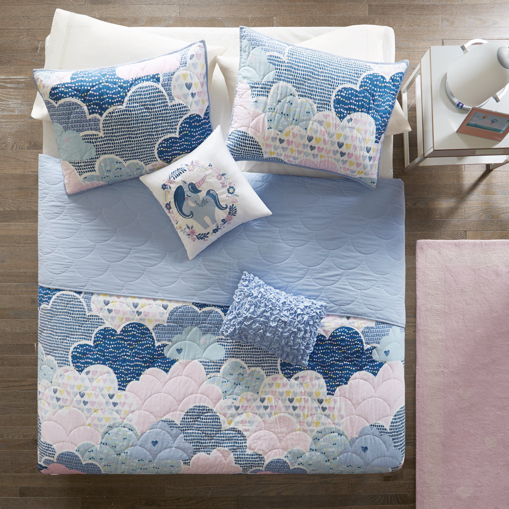 5 Piece Girls Blue Pink Purple White Color Cloud Themed Coverlet Full Queen Set, Sky Clouds Bedding, Playful Fun Polka Dot Heart Love Swirl Dots Pattern, Cotton