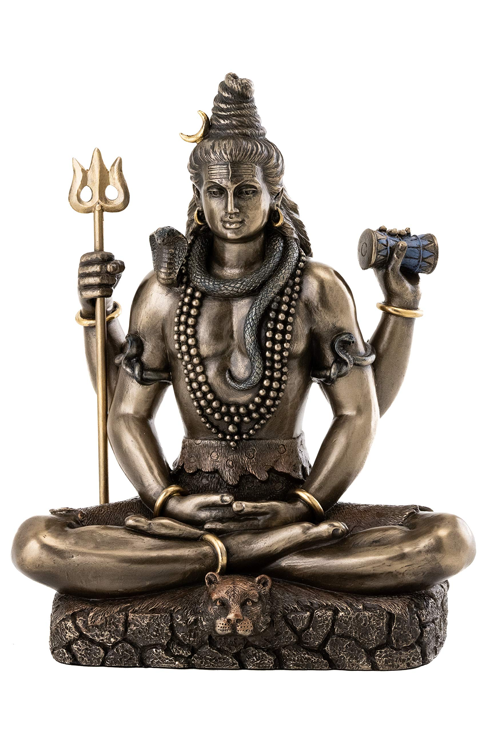 Top Collection Shiva Statue in Padmasana Lotus Pose-Hindu God of Destroying Evil, Ignorance, and Death Sculpture - Collectible Figurine (Cold Cast Bronze) by Top Collection