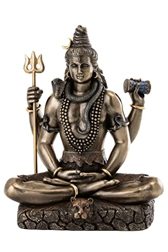 Top Collection Shiva Statue in Padmasana Lotus Pose-Hindu God of Destroying Evil, Ignorance, and Death Sculpture – Collectible Figurine Cold Cast Bronze