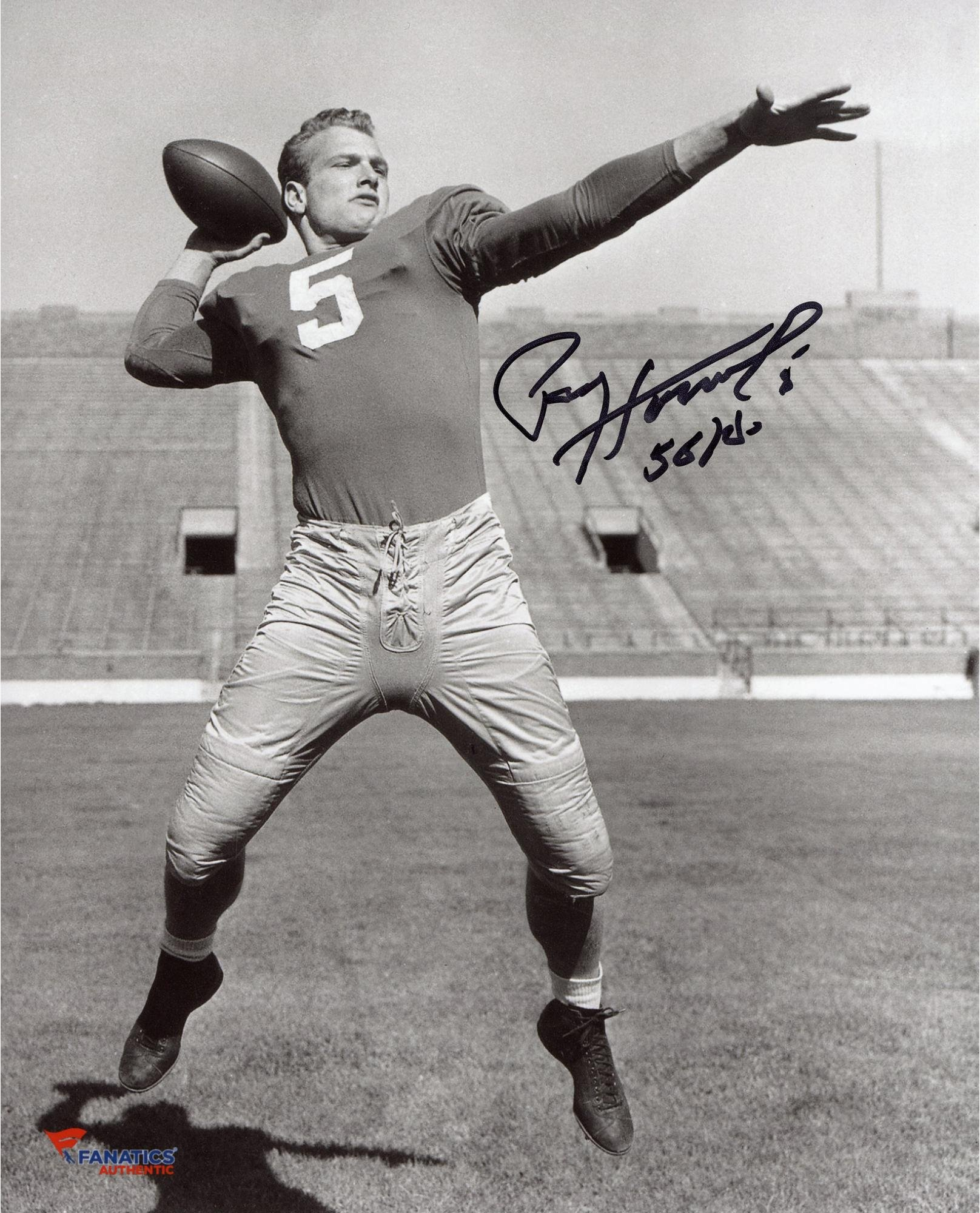 Paul Hornung Notre Dame Fighting Irish Autographed 8'' x 10'' Black and White Pose Photograph With 56 HOF Inscription Fanatics Authentic Certified