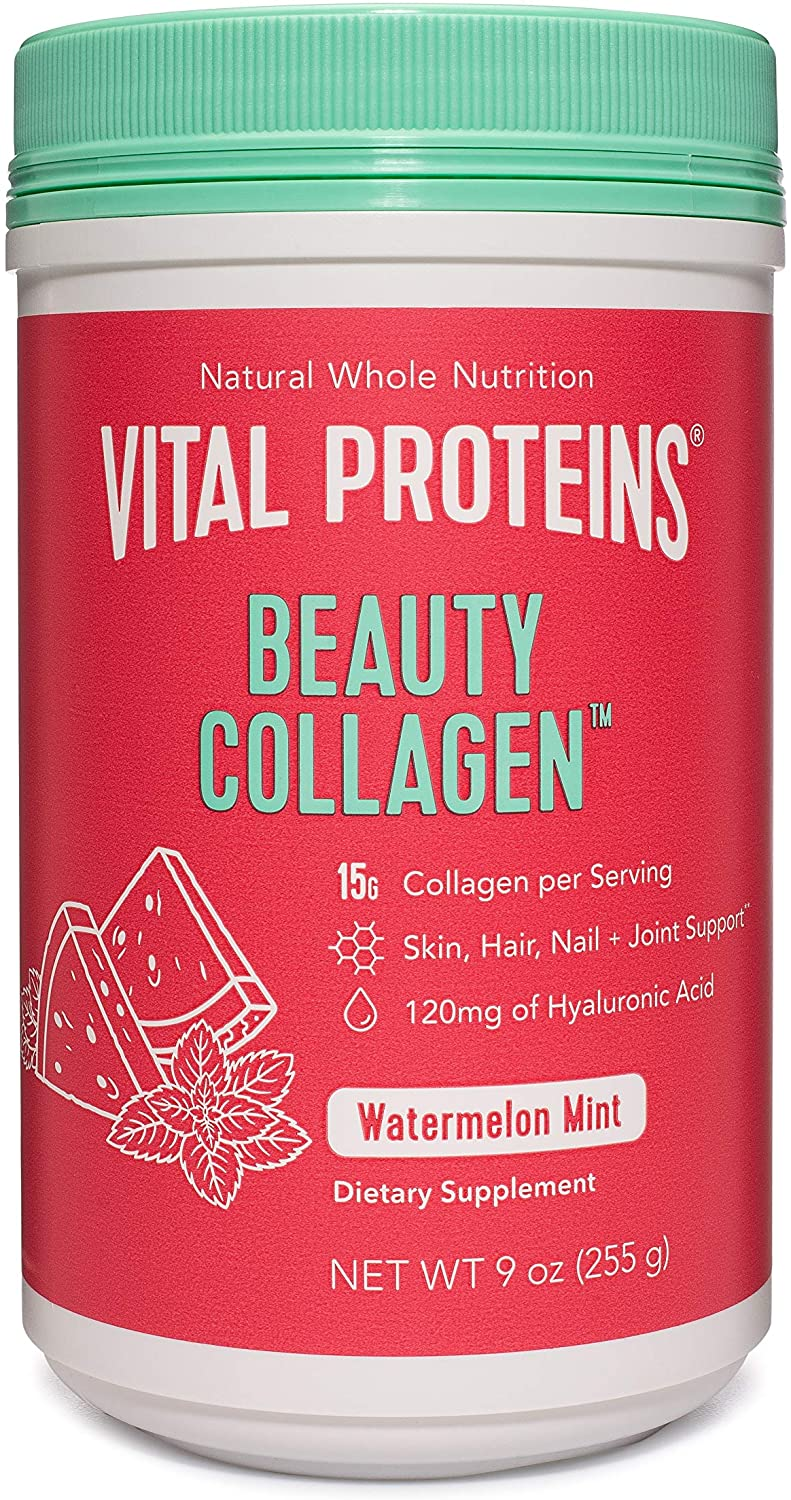 Vital Proteins Beauty Collagen Peptides Powder Supplement for Women, 120mg of Hyaluronic Acid - 15g of Collagen Per Serving - Enhance Skin Elasticity and Hydration - Watermelon Mint - 9oz Canister