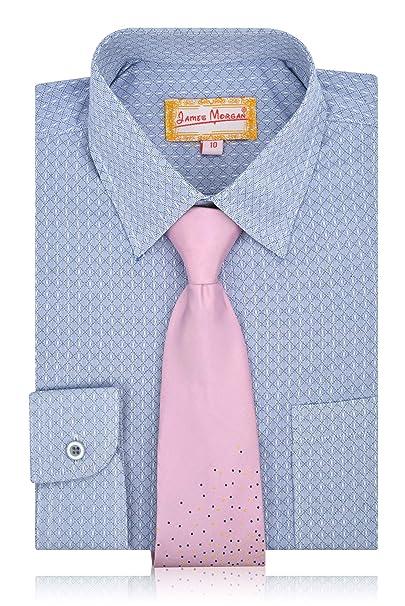 a82ab35c74b7d2 Amazon.com: JAMES MORGAN Boys Polka Dot Dress Shirt with Curated Tie - Sizes  4-7: Clothing