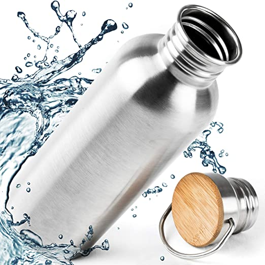 Pure Design Botella Acero Inoxidable 1 litro - Botella de Agua Normal y aislada 1000ml, 750ml, 500ml, 350 ml - 110% de garantía Premium