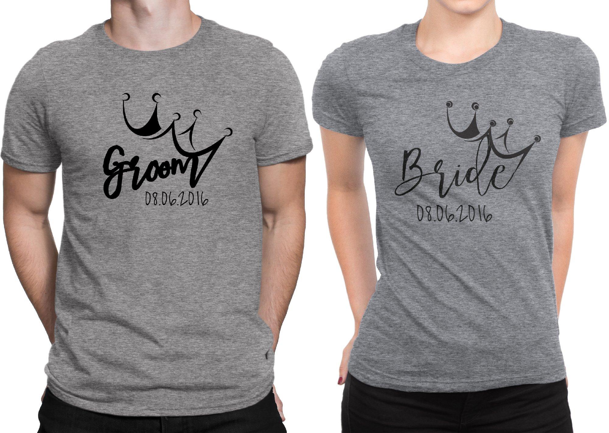 Groom Bride Crown Newly Married Couple Matching T-shirt Honeymoon valentines Men Large / Women X-Large   Deep Heather - Deep Heather