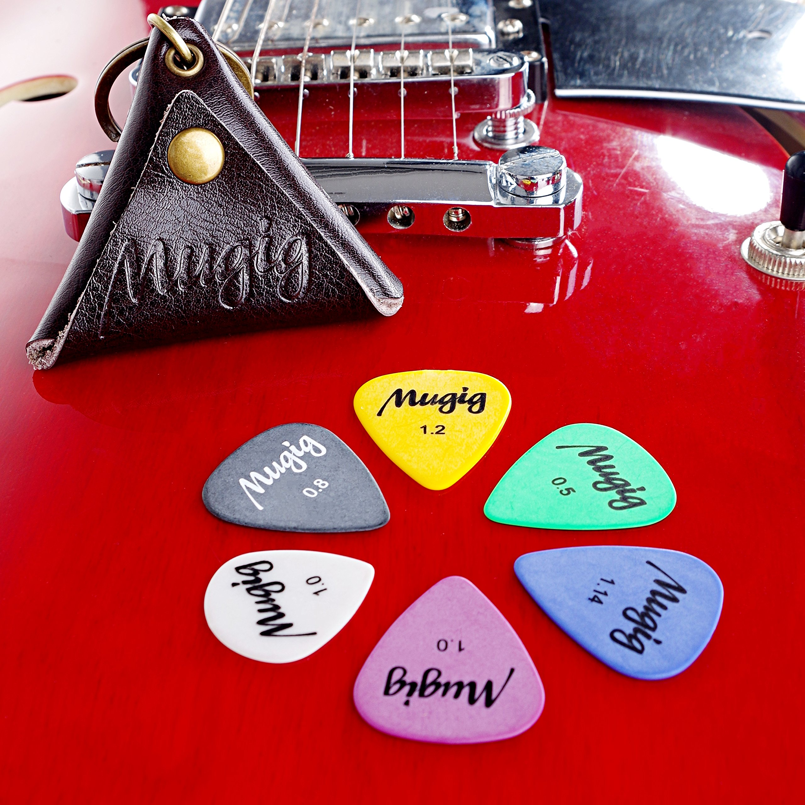 Mugig Guitar Picks Plectrums (Delrin) with Leather Pick Holder Case, Contain 12 Picks Thickness 0.5 / 0.8 / 1/ 1.14 / 1.2 mm